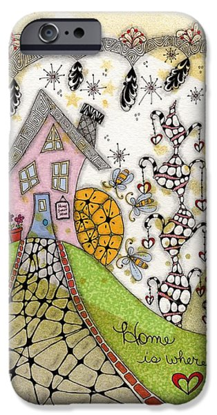 Pathway Drawings iPhone Cases - Home Is Where The Heart Is iPhone Case by Paula Dickerhoff