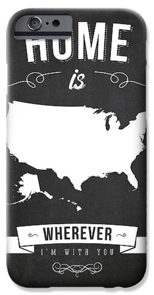 I Love America iPhone Cases - Home is wherever im with you USA - Dark iPhone Case by Aged Pixel