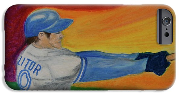 Baseball Pastels iPhone Cases - Home Run Swing Baseball Batter iPhone Case by First Star Art