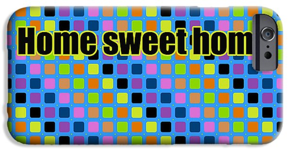 Caption iPhone Cases - Home sweet home in pop art  iPhone Case by Toppart Sweden