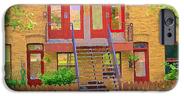 Plateau Montreal Paintings iPhone Cases - Home Sweet Home Red Wooden Doors The Walk Up Where We Grew Up Montreal Memories Carole Spandau iPhone Case by Carole Spandau