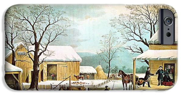 Winter Scene iPhone Cases - Home To Thanksgiving iPhone Case by Currier and Ives
