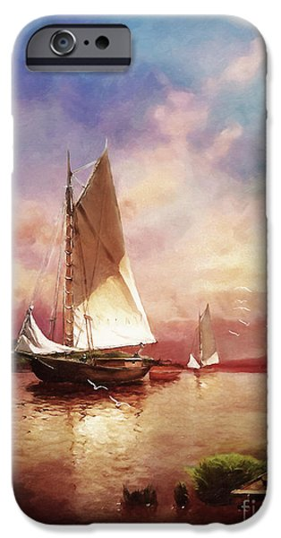 Hudson River Digital iPhone Cases - Home to the Harbor iPhone Case by Lianne Schneider