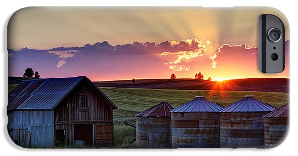 Silos iPhone Cases - Home Town Sunset iPhone Case by Mark Kiver