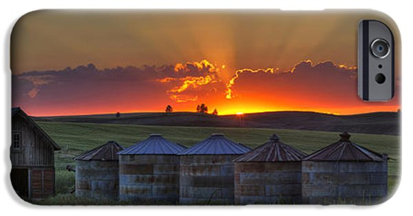 Silos iPhone Cases - Home Town Sunset Panorama iPhone Case by Mark Kiver