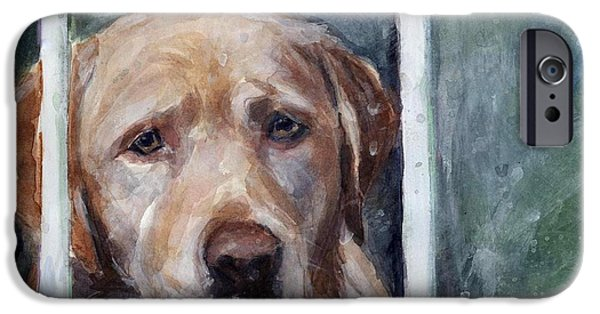Dogs In Snow. Paintings iPhone Cases - Homebody iPhone Case by Molly Poole