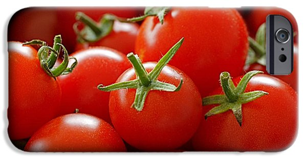 Red iPhone Cases - Homegrown Tomatoes iPhone Case by Rona Black