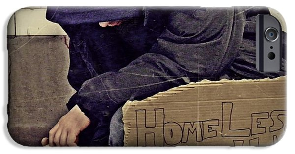 Homeless iPhone Cases - Homeless Please Help iPhone Case by Sarah Loft