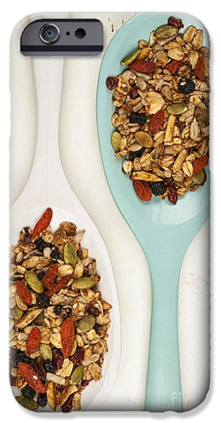 Berry iPhone Cases - Homemade granola in spoons iPhone Case by Elena Elisseeva