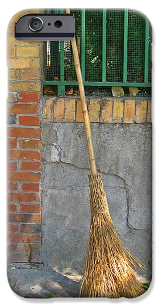 Bamboo Fence iPhone Cases - Homemade Straw Broom iPhone Case by John Malone