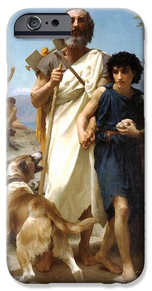 Dog Walking Digital iPhone Cases - Homer And His Guide iPhone Case by William Bouguereau