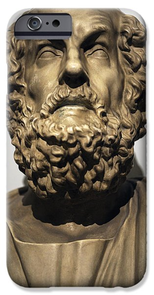 Statue Portrait Photographs iPhone Cases - Homer  iPhone Case by Greek School