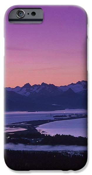 Spit iPhone Cases - Homer Spit Sunset Kenai Mtns Kenai iPhone Case by Jeff Schultz