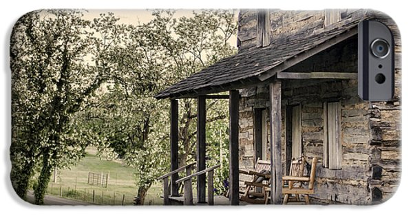 Log Cabin Photographs iPhone Cases - Homestead at Dusk iPhone Case by Heather Applegate