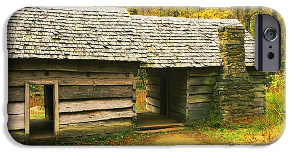 Log Cabins iPhone Cases - Homestead Log Cabin In A Forest, Great iPhone Case by Panoramic Images