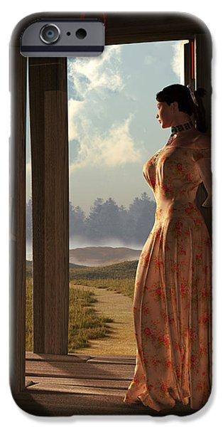 Remington Digital iPhone Cases - Homestead Woman iPhone Case by Daniel Eskridge