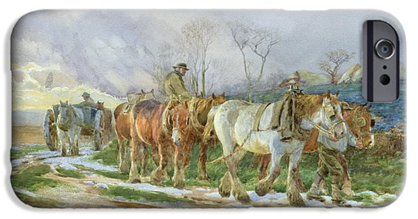 Snowy Evening iPhone Cases - Homeward Bound iPhone Case by Charles James Adams