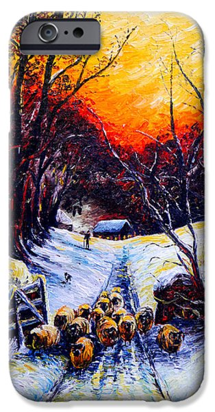 Snow Scene iPhone Cases - Homeward Bound Christmas card iPhone Case by Andrew Read