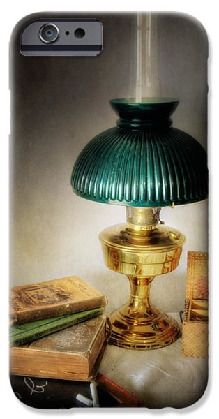 Oil Lamp Photographs iPhone Cases - Homework By Lamplight iPhone Case by David and Carol Kelly