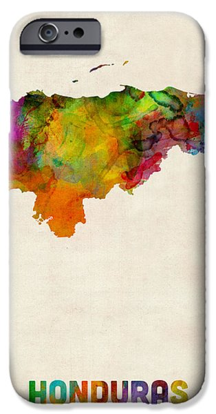 Maps - iPhone Cases - Honduras Watercolor Map iPhone Case by Michael Tompsett