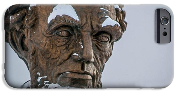 Abraham Lincoln Canvas iPhone Cases - Honest Abe in Snow iPhone Case by Cathy Smith
