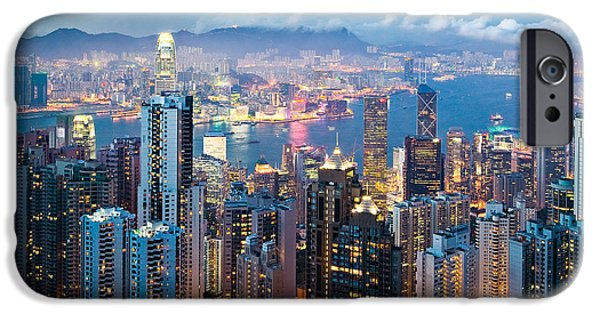 Financial District iPhone Cases - Hong Kong at Dusk iPhone Case by Dave Bowman