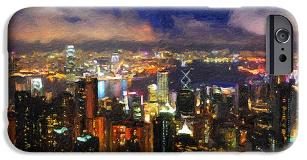Hong Kong Paintings iPhone Cases - Hong Kong From The Peak iPhone Case by Safran Fine Art