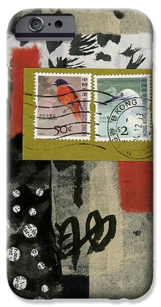 Torn Mixed Media iPhone Cases - Hong Kong Postage Collage iPhone Case by Carol Leigh