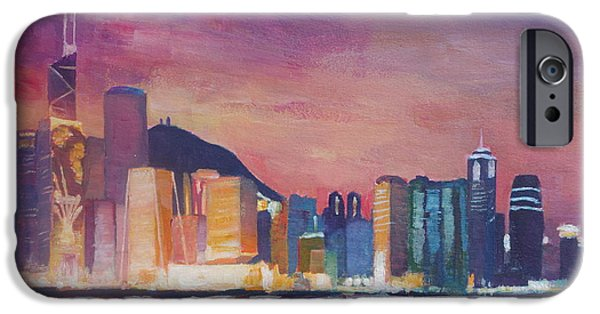 Hong Kong Paintings iPhone Cases - Hong Kong Skyline at Night  iPhone Case by M Bleichner