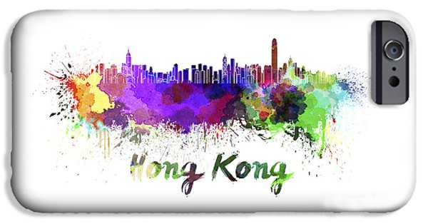 Hong Kong Paintings iPhone Cases - Hong Kong skyline in watercolor iPhone Case by Pablo Romero