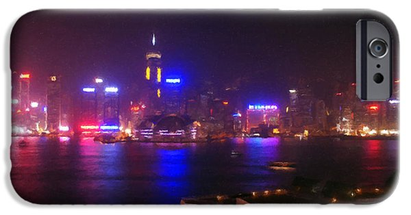 Commerce Digital iPhone Cases - Hong Kong Skyline iPhone Case by Pixel  Chimp