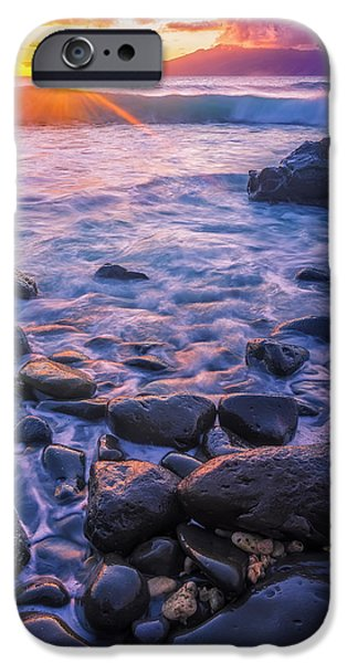 Recently Sold -  - Beach Landscape iPhone Cases - Honolua Sunset iPhone Case by Hawaii  Fine Art Photography