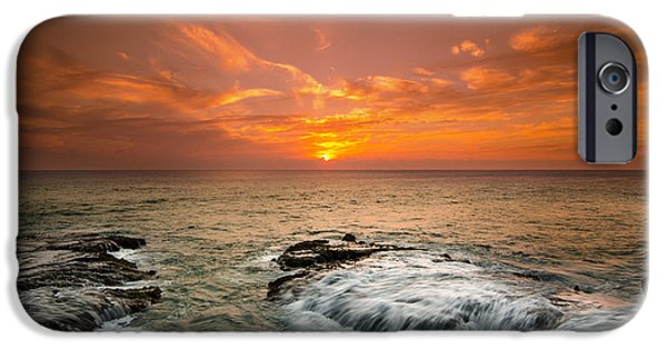 Banzai iPhone Cases - Honolulu sunset iPhone Case by Tin Lung Chao