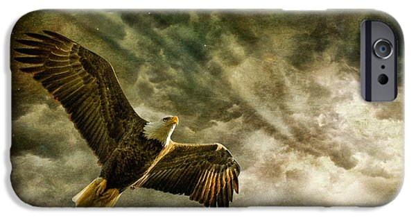 Sun Rays Digital Art iPhone Cases - Honor Bound In Blue iPhone Case by Lois Bryan