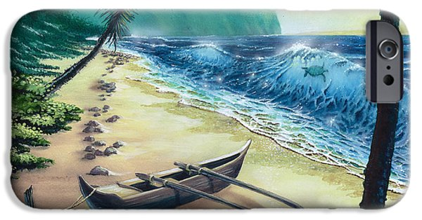 Canoe iPhone Cases - Honu Surfer iPhone Case by Bill Shelton