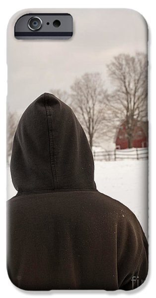 Agricultural iPhone Cases - Hooded boy at farm in winter iPhone Case by Edward Fielding