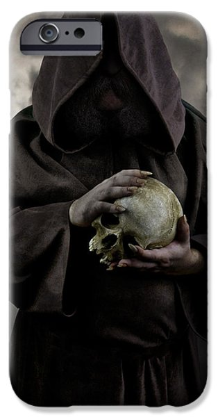 Missing Teeth iPhone Cases - Hooded moustached man wearing dark cloak and holding a human skull in his hands iPhone Case by Jaroslaw Blaminsky