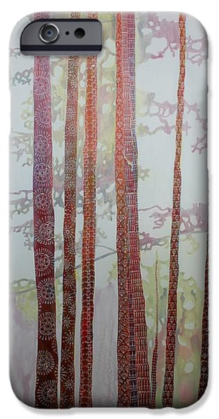 Diagram Paintings iPhone Cases - Hooked on Trees-SOLD iPhone Case by Sandrine Pelissier
