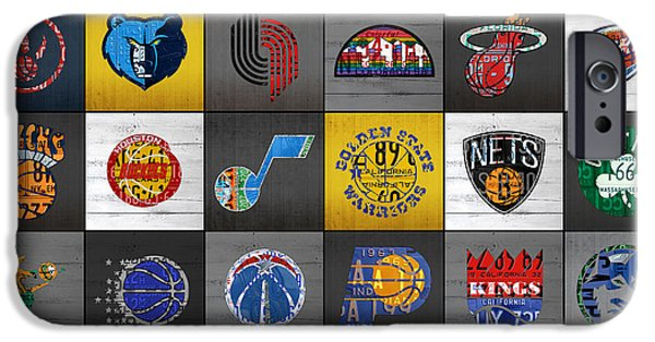 Hoops iPhone Cases - Hoop It Up Recycled Vintage Basketball League Team Logos License Plate Art iPhone Case by Design Turnpike