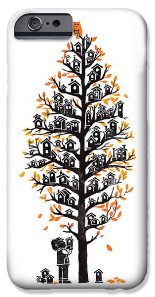 Fall Season iPhone Cases - Hoot lodge iPhone Case by Budi Kwan