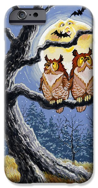 Man In The Moon iPhone Cases - Hooty Whos There iPhone Case by Richard De Wolfe