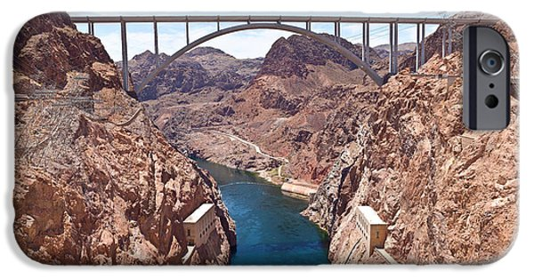 Built Structure iPhone Cases - Hoover Dam Canyonland And Bridge iPhone Case by Panoramic Images