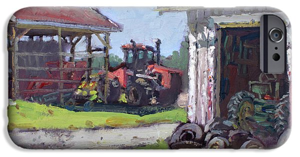 Barns iPhone Cases - Hoover Farm in Sanborn iPhone Case by Ylli Haruni