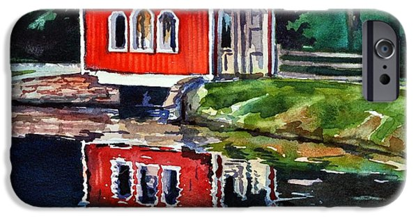 Covered Bridge Paintings iPhone Cases - Hope Bridge iPhone Case by Spencer Meagher