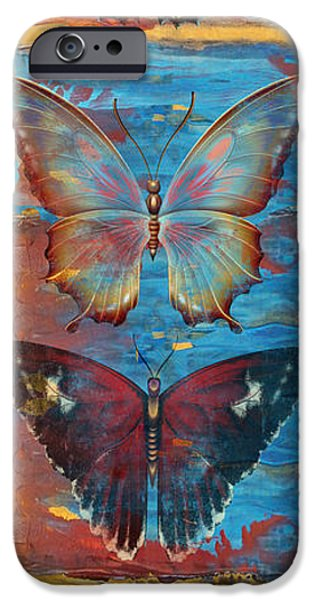 Abstract Digital Paintings iPhone Cases - Hope Butterflies iPhone Case by Jean PLout