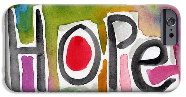 Set iPhone Cases - Hope- colorful abstract painting iPhone Case by Linda Woods