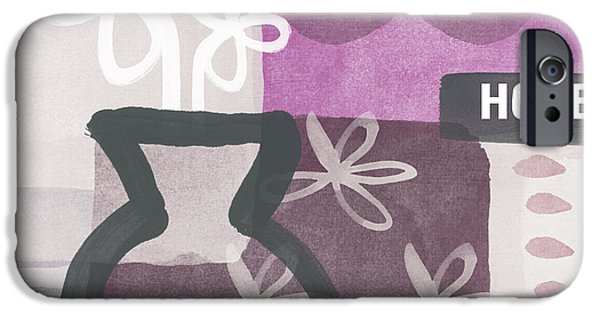 Purple Prints iPhone Cases - Hope- Contemporary Art iPhone Case by Linda Woods