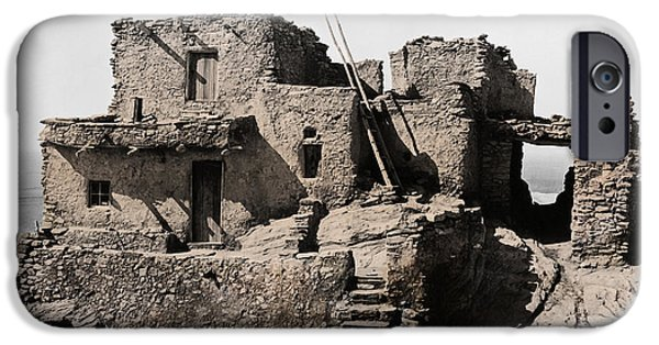 Hopi iPhone Cases - Hopi Hilltop Indian Dwelling 1920 iPhone Case by Daniel Hagerman
