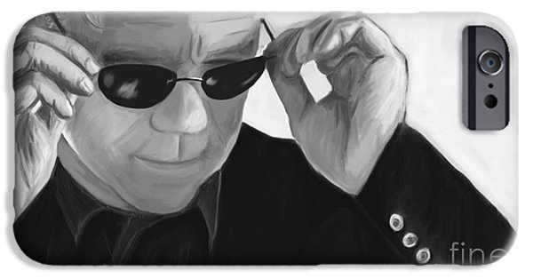 Police iPhone Cases - Horatio Caine / David Caruso BW iPhone Case by Richard Eijkenbroek