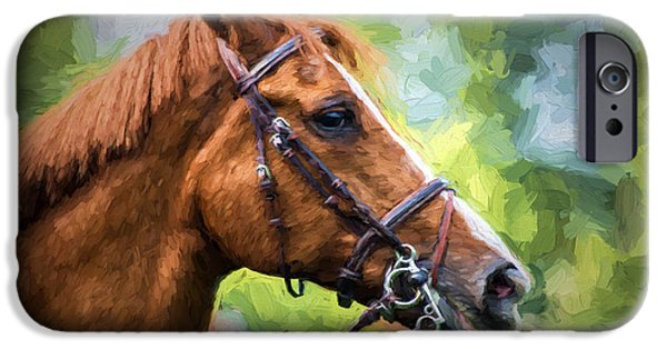 Abstract Digital Pyrography iPhone Cases - Horse Portrait 1 iPhone Case by Mauro Celotti